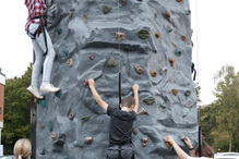 The ascent begins on a 26ft climbing wall
