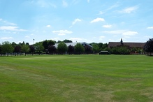 A panorama of the Red House, Chapel, and the Henderson Centre at the College