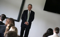 Question time at St George's as the Sixth Form welcome Philip Hammond MP
